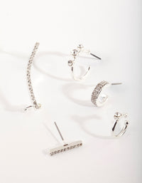 Silver Diamante Cuff & Hoop Earring Stack Pack - link has visual effect only