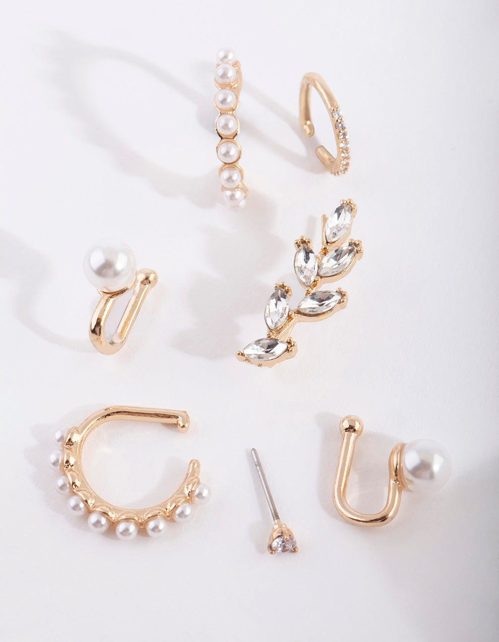 Gold Pearl Crawler & Cuff Earring Pack