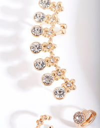 Gold Diamante Flower Ear Cuff 7 Earring Pack - link has visual effect only
