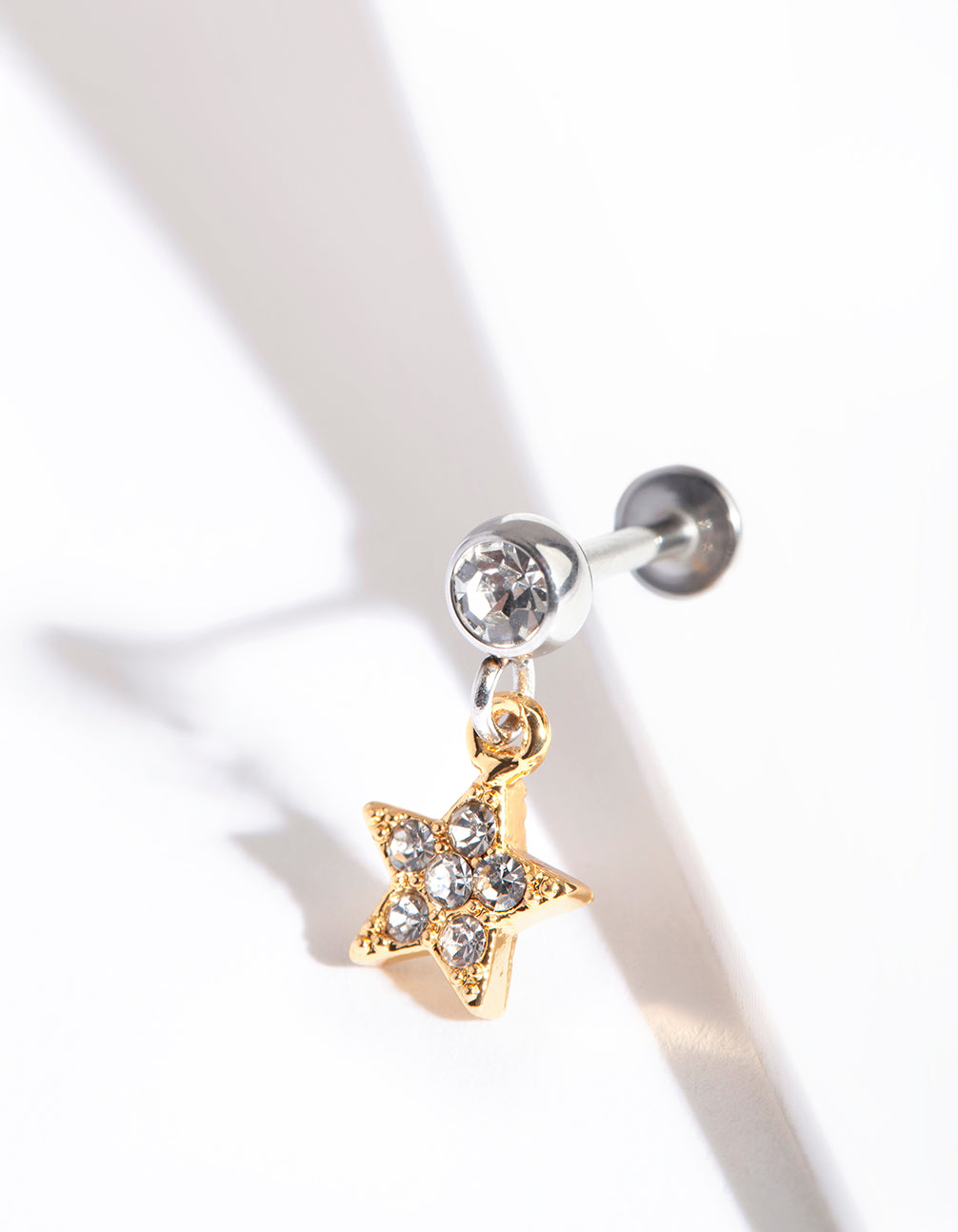 Mixed Metal Surgical Steel Pave Star Charm Flatback Earring