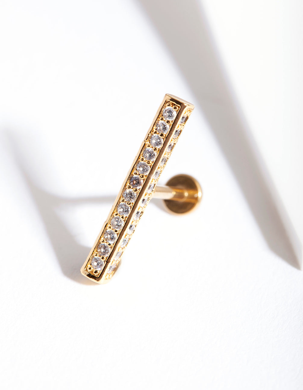 Gold Surgical Steel Cubic Zirconia Pave Bar Flatback Earring