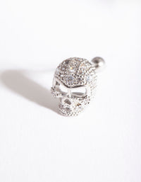 Rhodium Surgical Steel Cubic Zirconia Skull Barbell - link has visual effect only
