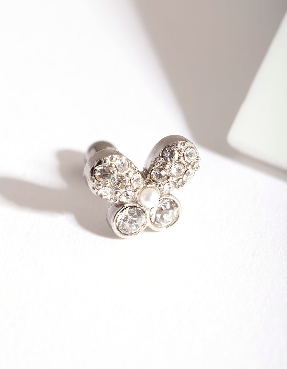 Rhodium Surgical Steel Diamante Butterfly Barbell Earring