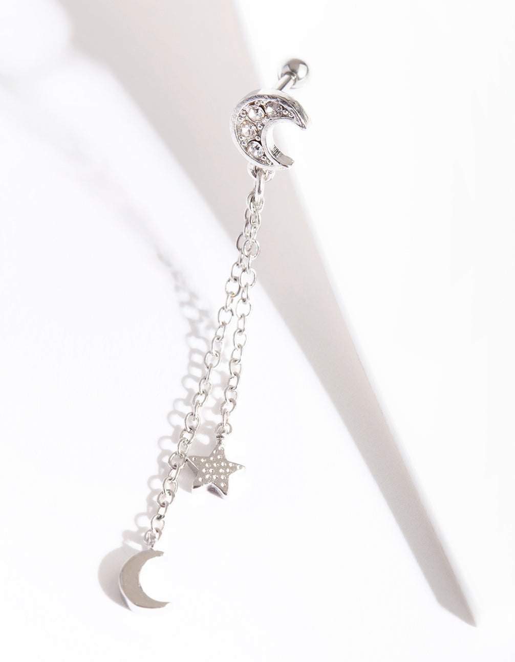 Rhodium Surgical Steel Celestial Chain Drop Barbell Earring