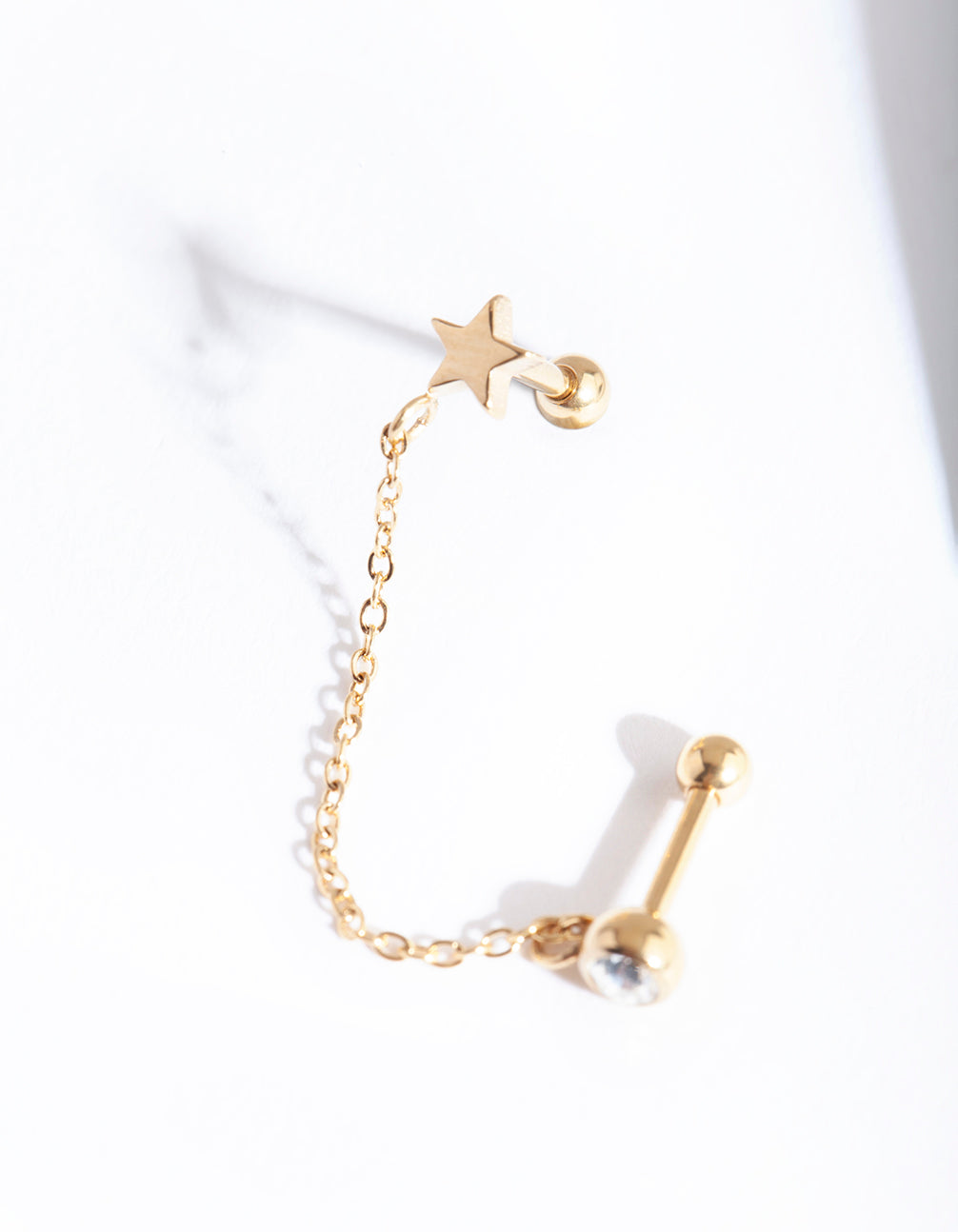 Gold Star & Diamante Chian Barbell Earring