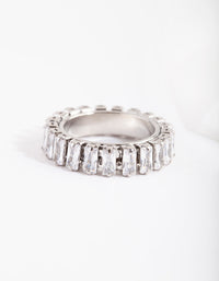 Rhodium Cubic Zirconia Baguette Ring - link has visual effect only
