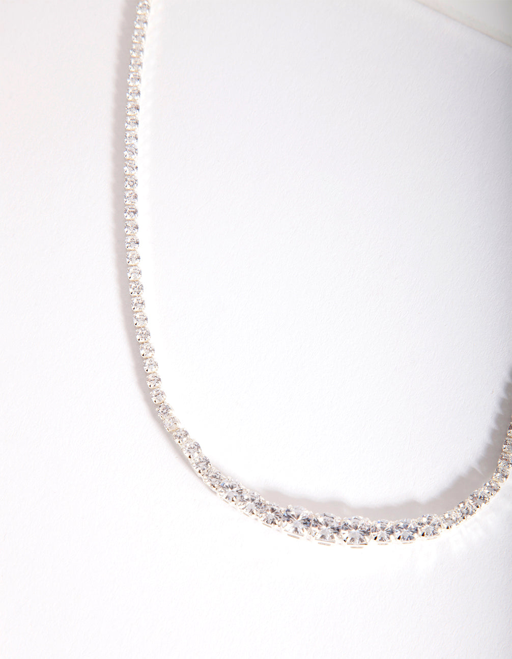 Silver Cubic Zirconia Graduating Diamante Necklace
