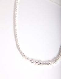 Silver Cubic Zirconia Graduating Diamante Necklace - link has visual effect only