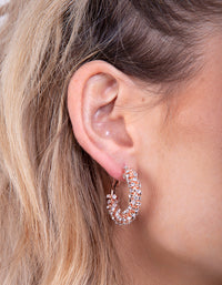 Rose Gold Cupchain Diamante Hoop Earring - link has visual effect only