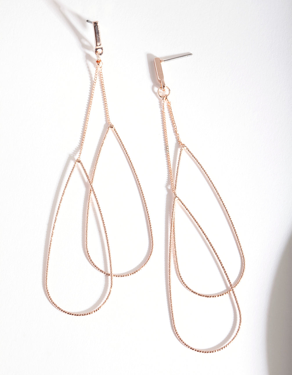 Rose Gold Double Teardrop Earring