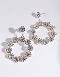 Silver Diamante Flower Circle Earring - link has visual effect only