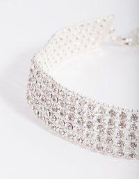 Silver 5 Row Diamante Choker Necklace - link has visual effect only
