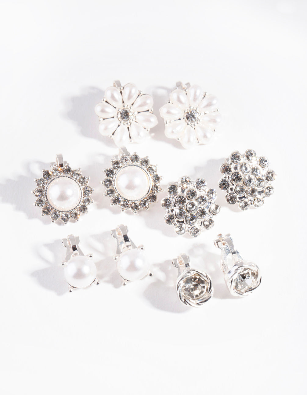 Silver Pearl flower Clip-On Earring Pack