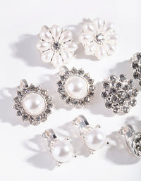 Silver Pearl flower Clip-On Earring Pack - link has visual effect only