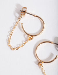 Gold Fine Chain Loop Earring - link has visual effect only