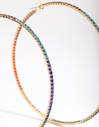 Gold Multicoloured Diamante Hoop Earring - link has visual effect only