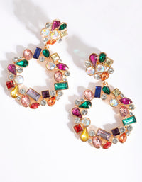 Gold Multi Stone Open Circle Earring - link has visual effect only