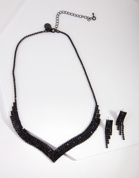 Black Diamante Earring & Necklace Set - link has visual effect only
