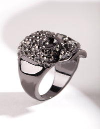 Gunmetal Diamante Skull Ring - link has visual effect only