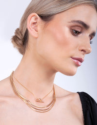 Gold Multi Row Snake & Lariat Necklace Set - link has visual effect only