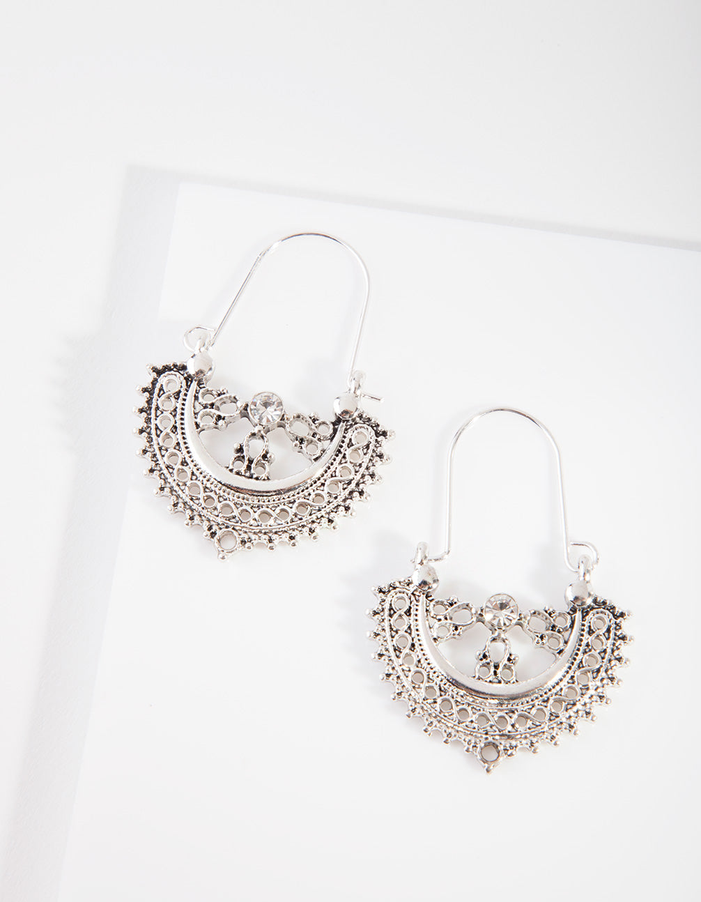 Antique Silver Etched Drop Hoop Earring