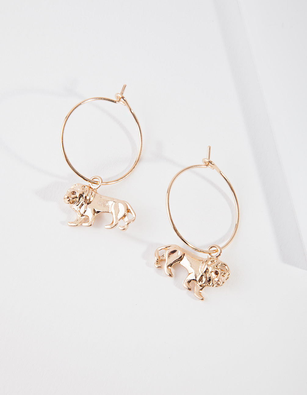 Gold Lion Charm Hoop Earring