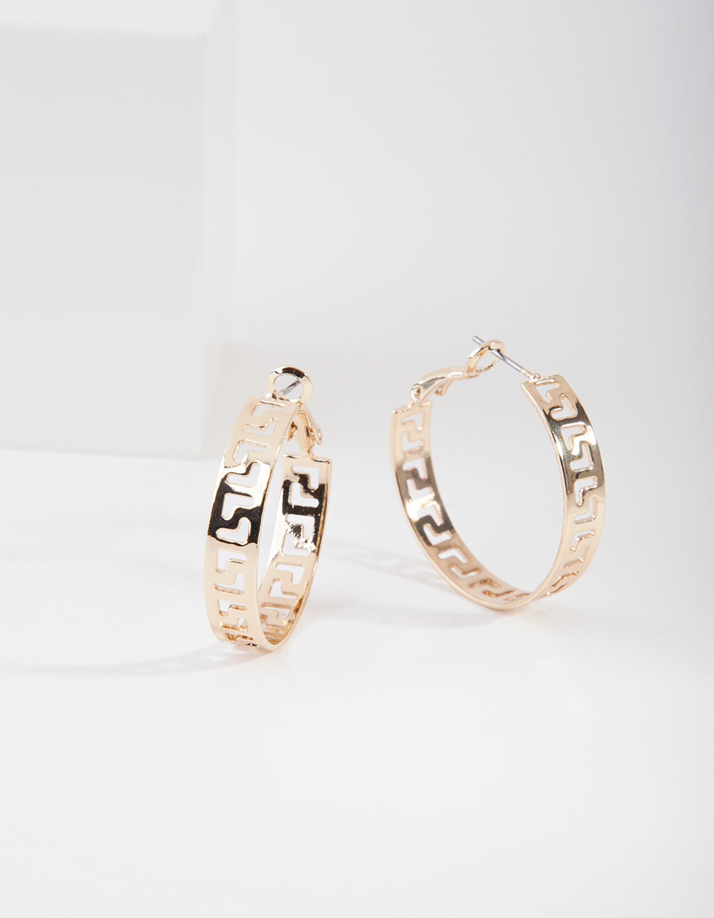 Gold L Cut Out Hoop Earring