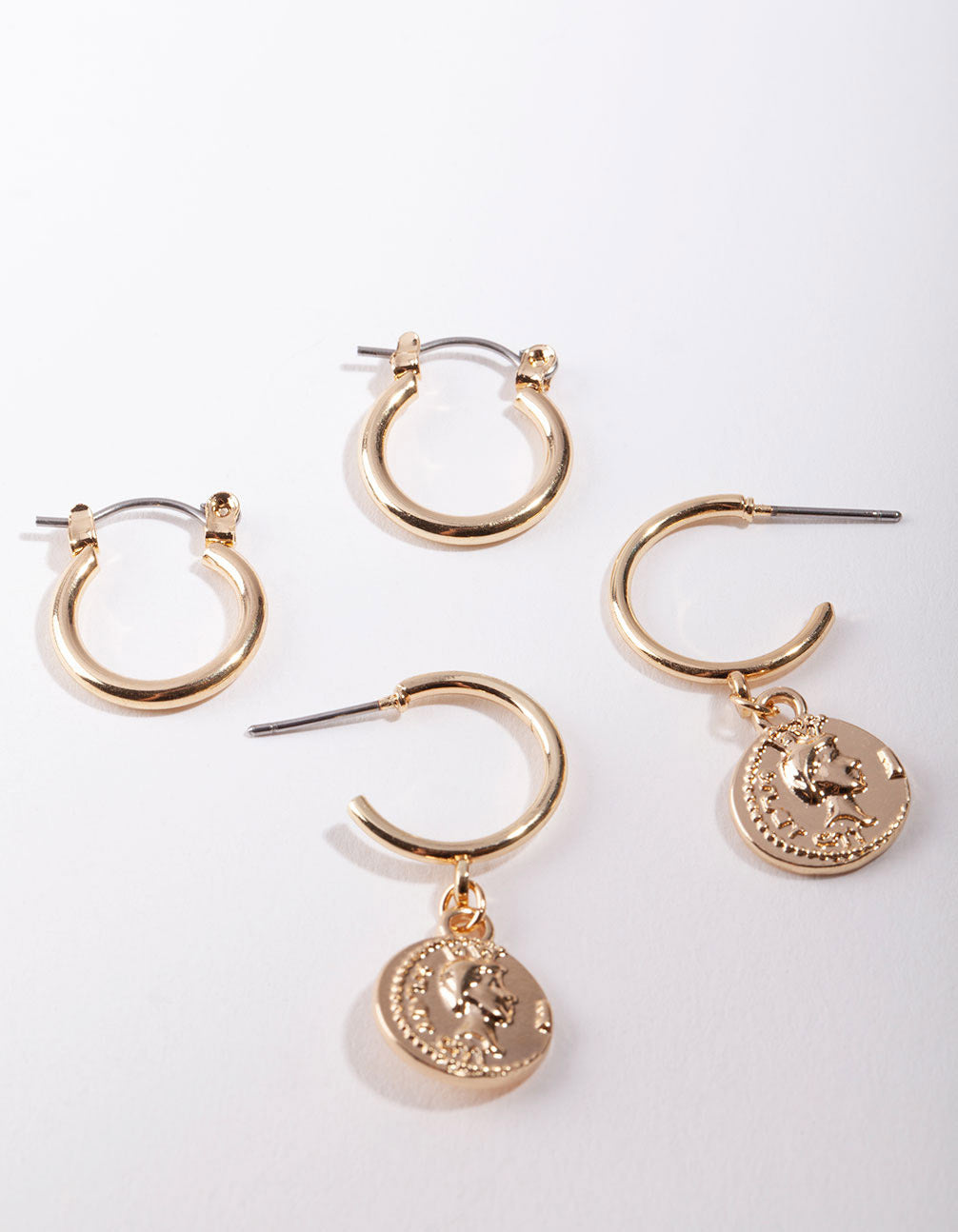 Shiny Gold Coin Charm Hoop Earring 2 Pack