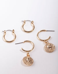 Shiny Gold Coin Charm Hoop Earring 2 Pack - link has visual effect only