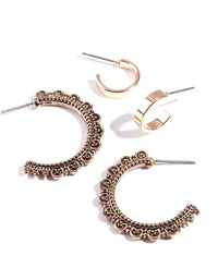Gold Frill Hoop Earring 2 Pack - link has visual effect only
