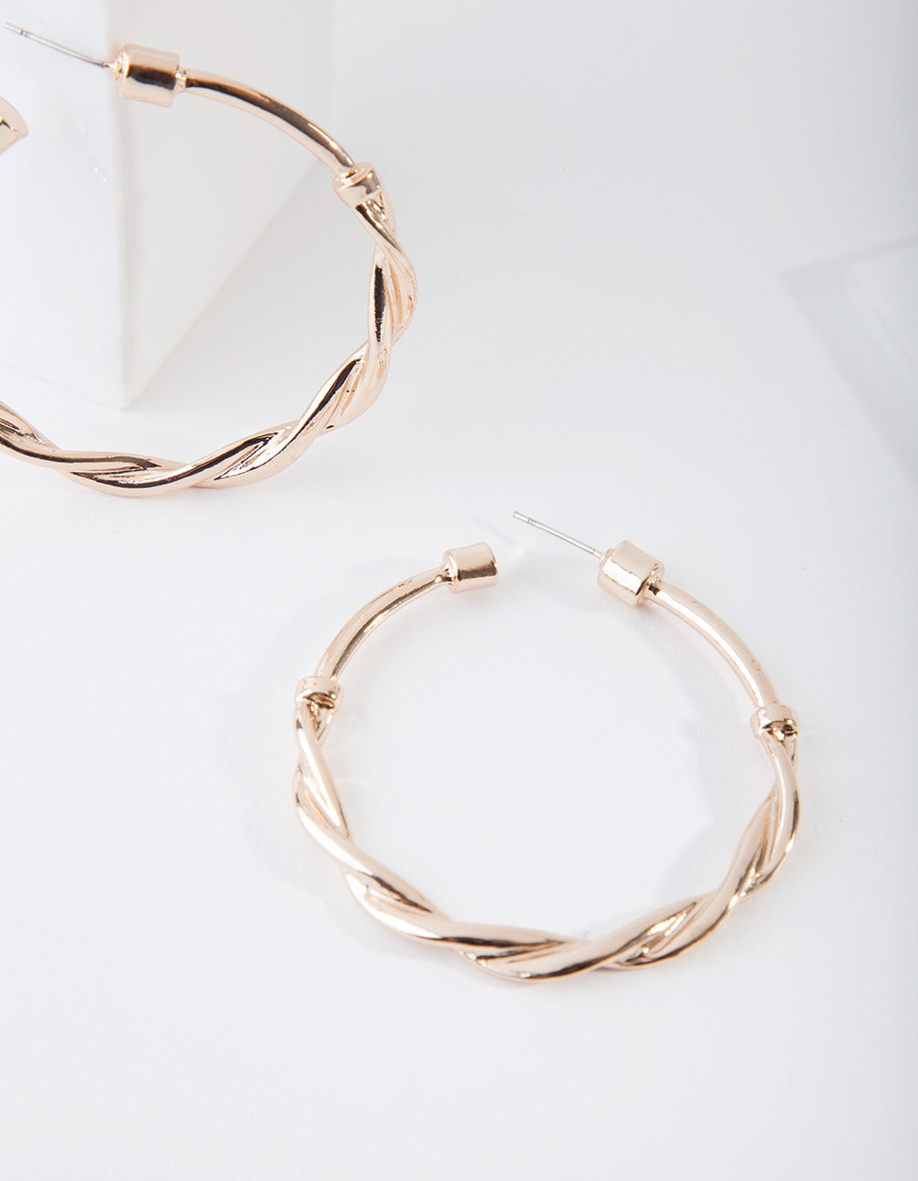 Gold Twist Metal Hoop Earring