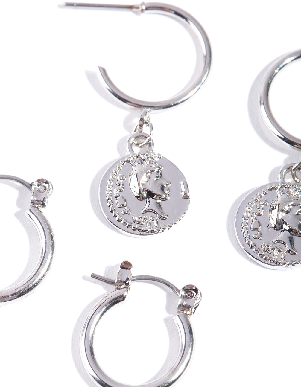 Rhodium Coin Charm Hoop Earring 2 Pack