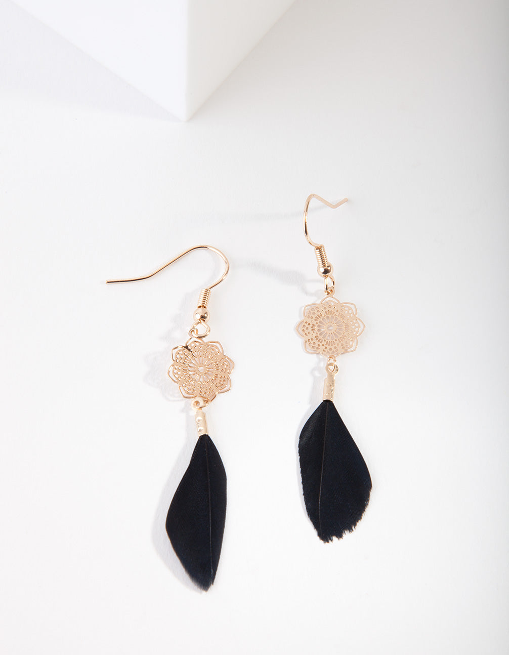 Gold Filigree Feather Drop earring