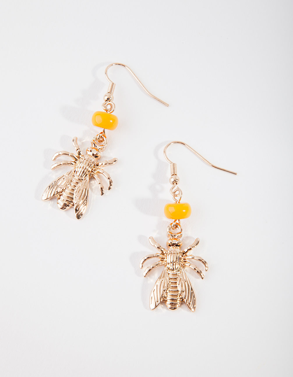 Gold Metal Bug Bead Drop Earring
