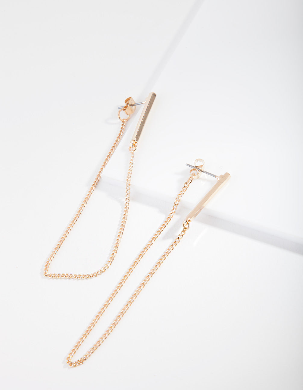 Gold Bar Wrap Chain Earring