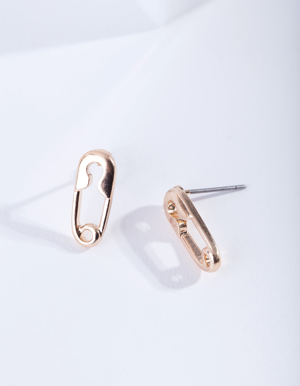 Gold Mini Safety Pin Stud Earring