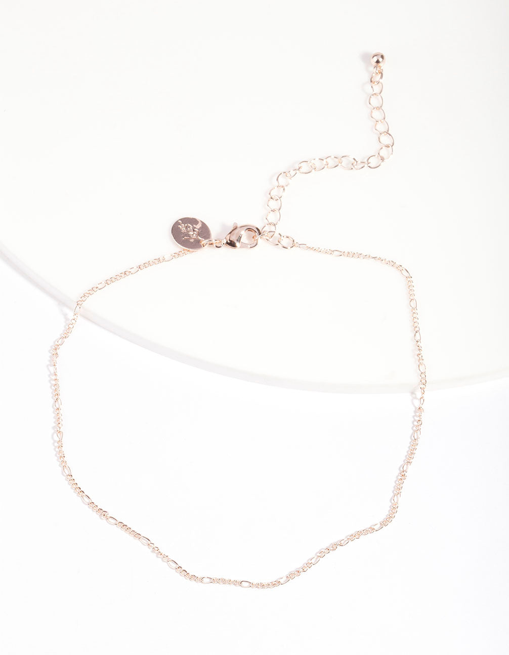 Rose Gold Fine Figaro Chain Choker Necklace