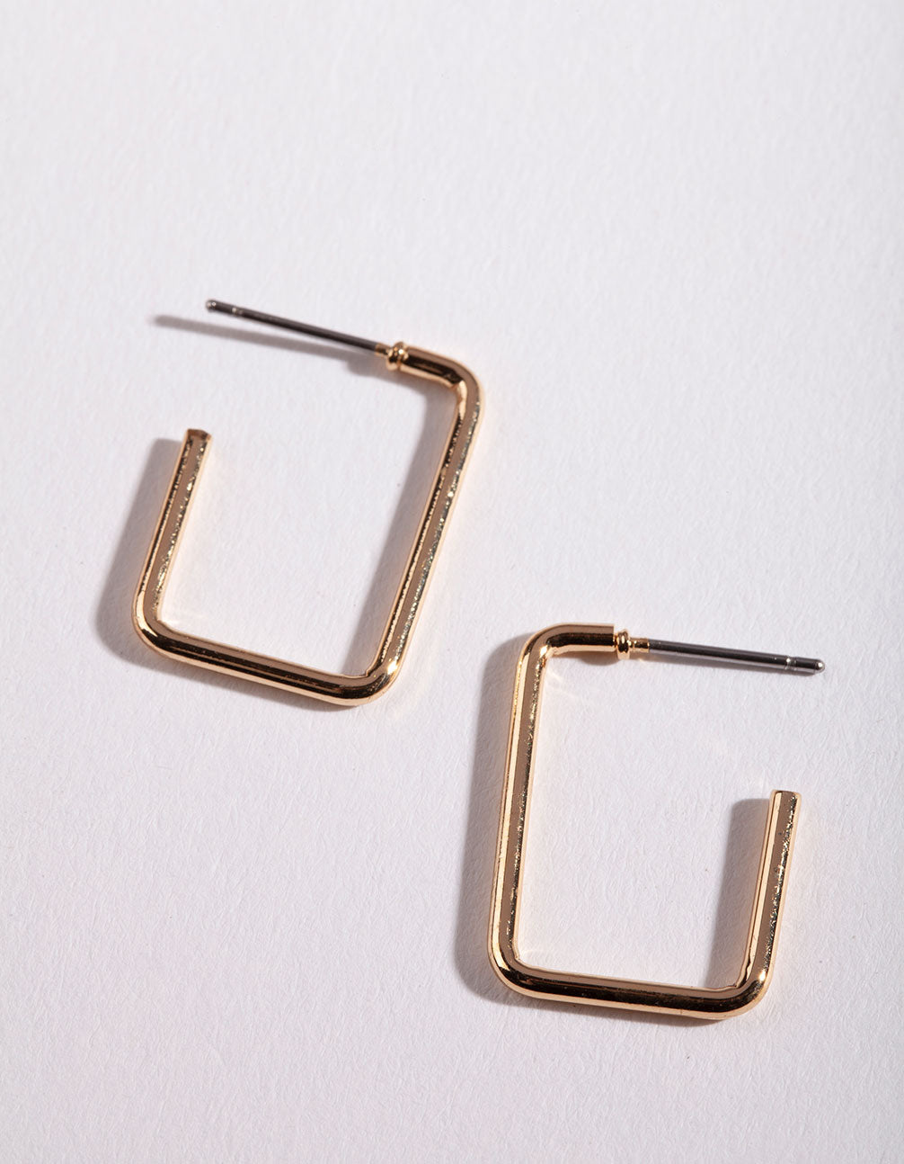 Gold Rectangle Hoop Earring