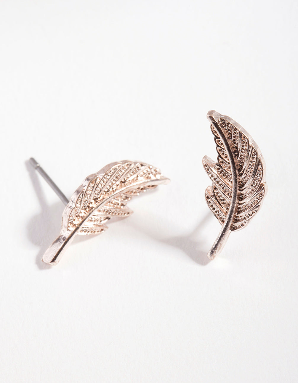 Rose Gold Metal Feather Earring
