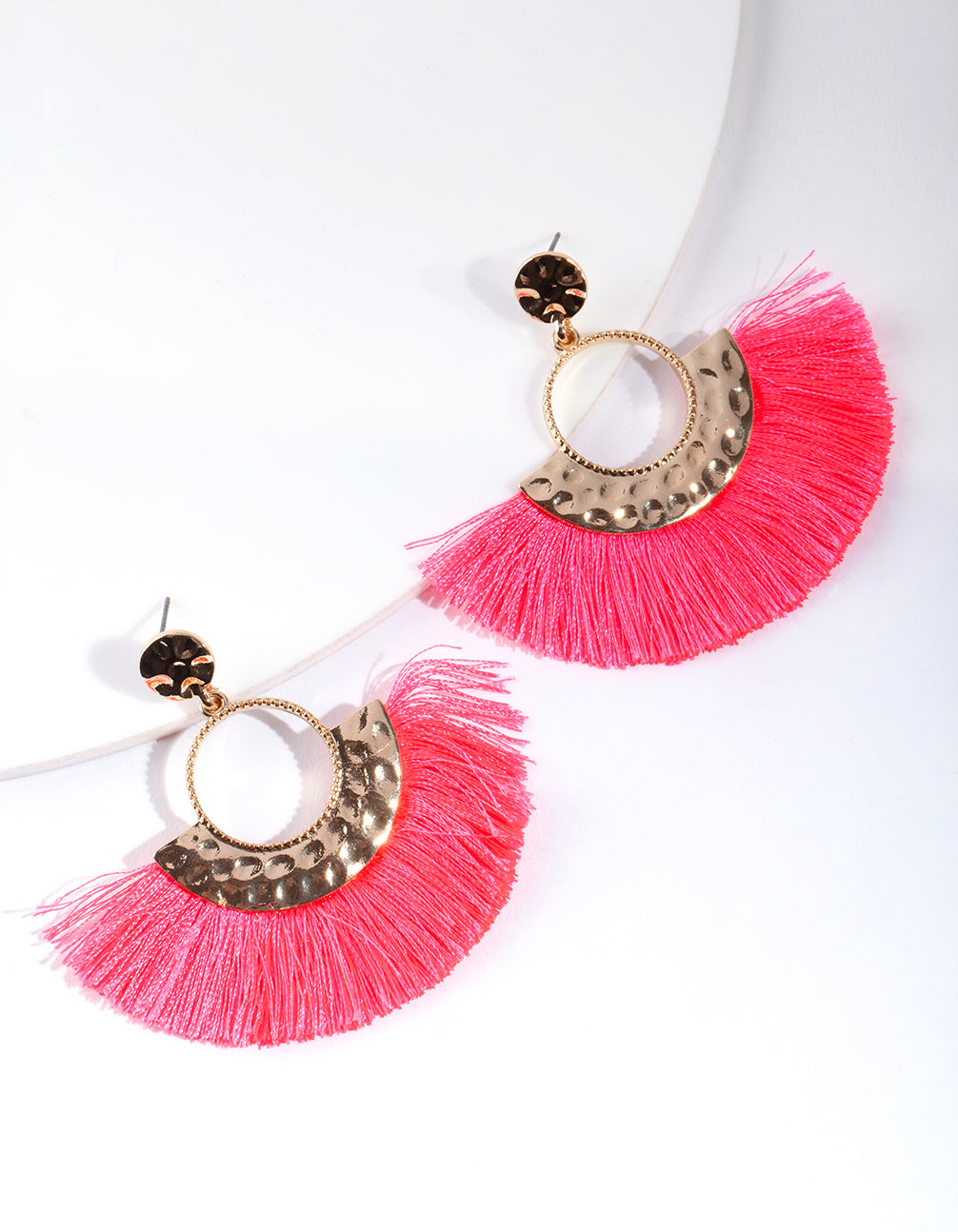 Shiny Gold Circle Fringe Drop Earring