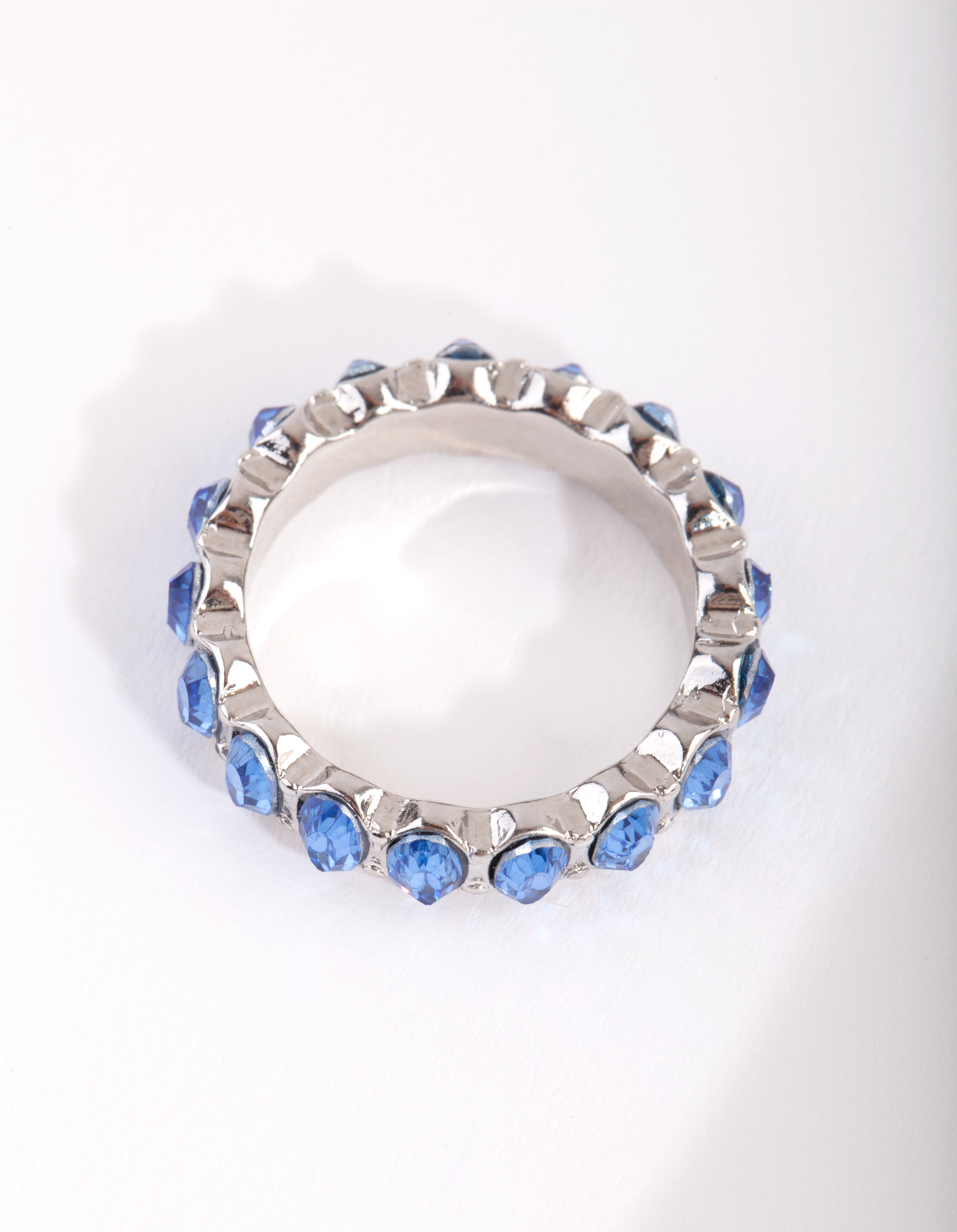 Rhodium Blue Oval Diamante Ring