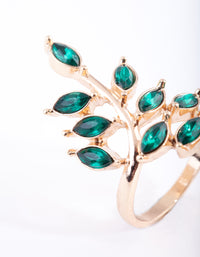 Gold Green Stone Leaf Ring - link has visual effect only