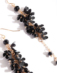 Gold Black Flower Cluster Drop Earring - link has visual effect only