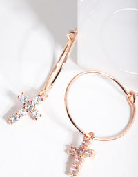 Rose Gold Plated Sterling Silver Cubic Zirconia Cross Hoop Earrings - link has visual effect only