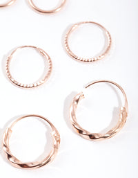 Rose Gold Plated Sterling Silver Textured Earring 3 Pack - link has visual effect only