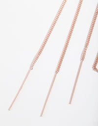 Rose Gold Plated Sterling Silver Long Chain Thread Through Earring - link has visual effect only