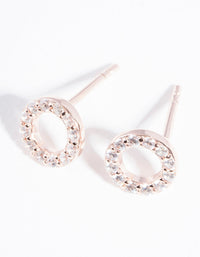 Rose Gold Plated Sterling Silver Pave Open Circle Stud Earring - link has visual effect only