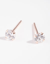 Rose Gold Plated Sterling Silver Cubic Zirconia 1/4 Carat Stud Earring - link has visual effect only