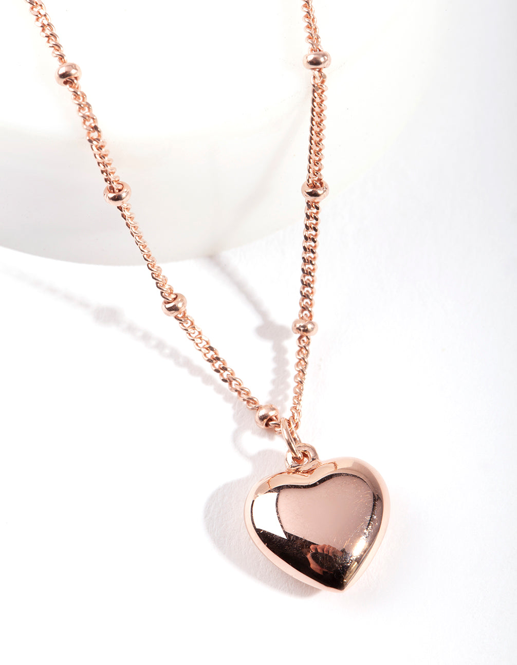 Rose Gold Plated Sterling Silver Puffed Heart Necklace