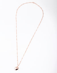 Rose Gold Plated Sterling Silver Puffed Heart Necklace - link has visual effect only